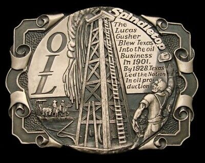 PF20162 GREAT 1980s OIL DERRICK SPINDLETOP TEXAS OILFIELD SOLID BRASS BUCKLE