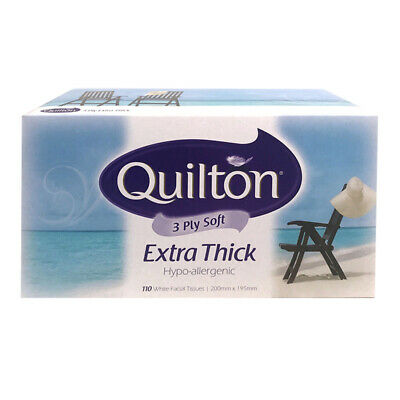 Quilton Boxed Tissues Extra Thick Hypo-Allergenic Tissue Box 110 Sheets 3 Ply
