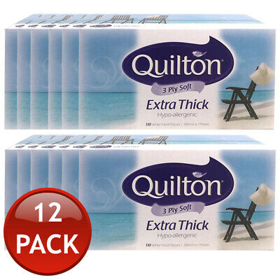 12 x QUILTON BOXED TISSUES EXTRA THICK HYPOALLERGENIC TISSUE 110 SHEETS 3 PLY