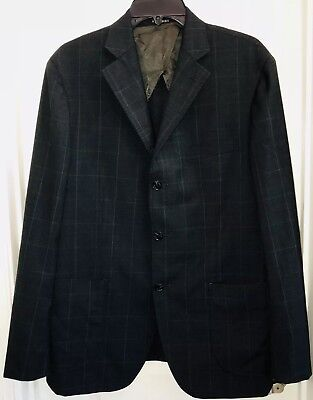 HTF Rose and Born Charcoal Blue Plaid Wool Blazer Jacket US 42R See Sizing
