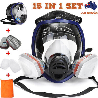 15pcs Industry Painting Spray Anti Dust Gas Mask Full Face Facepiece Respirator