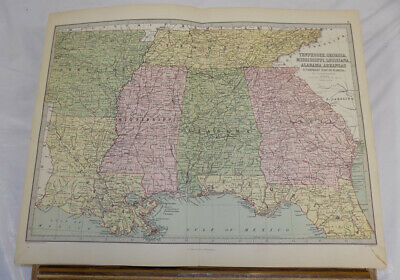 c1873 Antique Bartholomew COLOR Map/TN, GA, MS, LA, AL, AR, FL, UNITED STATES