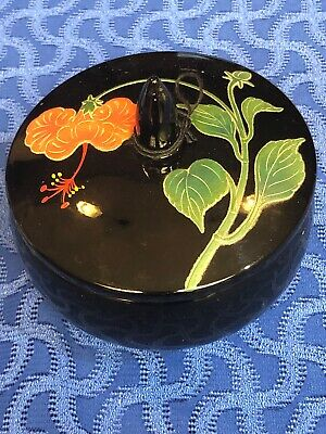 Japanese Ryukyu Lacquerware Round Lidded Box Container Hand Painted Red Flower