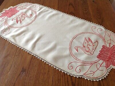 #9 Vintage Arts Crafts Embroider Table Runner Rich Red SWAN WATER LILY Lace Huck