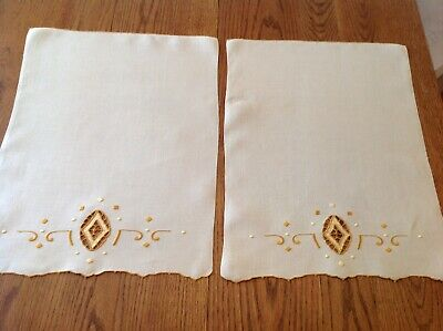 #18 Vtg Arts Crafts Mission Linen Show Towels Geometric Embroidery Pr Lot Of 2