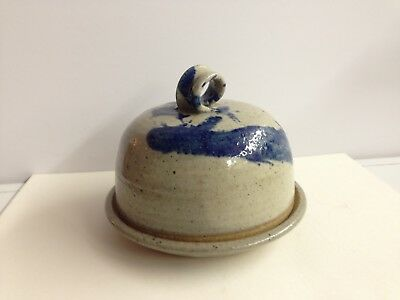 Blue Decorated Glazed Stoneware Round Covered Butter Dish Signed