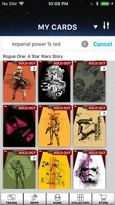 Topps Star Wars Digital Card Trader Red Rogue One Imperial Power 9 Card Set