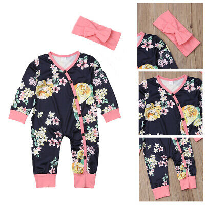 Newborn Kids Baby Girl Long Sleeve Romper Jumpsuit+Bow Headband Clothes Set AU