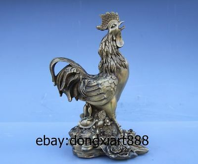 Chinese Fengshui Wealth Auspicious Animal Brass Cock rooster Chanticleer Statue