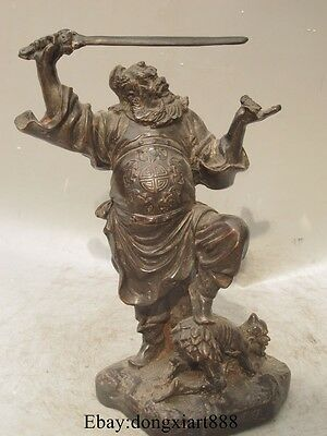 """11"""" Chinese Purple Bronze Exorcism Evil Demon Ghost Protect Zhong Kui God Statue"""