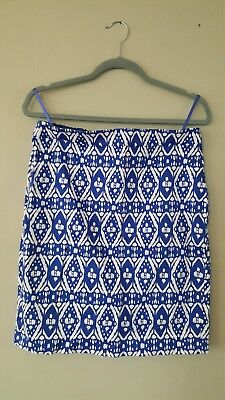 440898e2d J. Crew Pencil Skirt Sz 8 Blue White print Work Career Cotton Blend Tribal