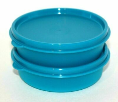 Tupperware Bowls Set of 2 Little Wonders 6 oz. Snack Cups Peacock Blue