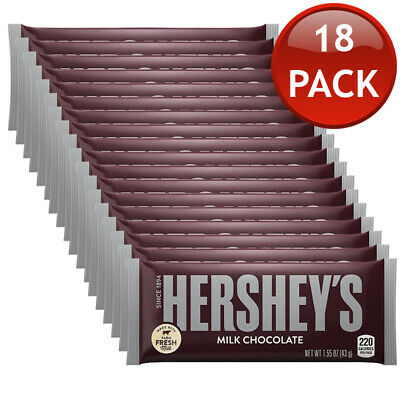 18 x HERSHEY'S MILK CHOCOLATE SNACK BAR SOFT SWEETS CONFECTIONARY DESSERTS 43g