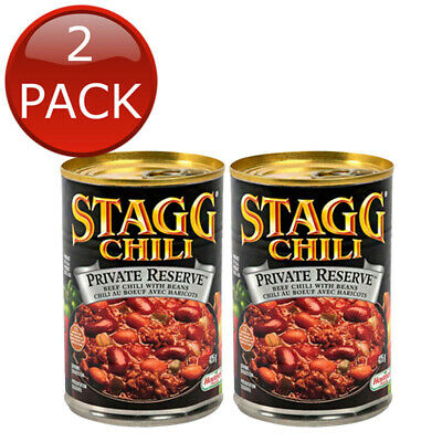 2 x STAGG PRIVATE RESERVE CHILI WITH BEANS GREEN CHILES SPICY HIGH QUALITY 425g