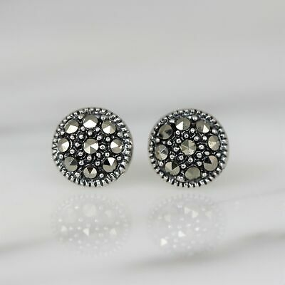 Genuine Sterling Silver 925 Marcasite Vintage Style 8mm Round Stud Earrings