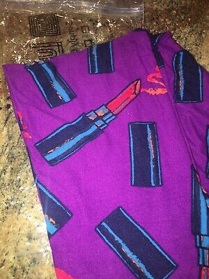 fd502d8fa4b38e Lularoe One Size Os Leggings Purple Background Blue Red Pink Lipstick Tubes