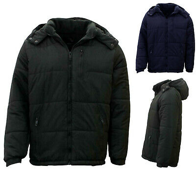Mens Parka Puffer Jacket Quilted Detachable Hoodie Puffy Padded Fleece Lined