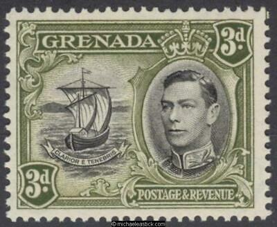 1938 Grenada 3d Black & Olive Green perf 13½x12½, SG 158a MUH