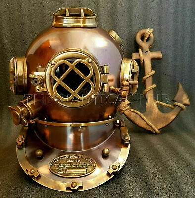 "Antique 18"" Diving Divers Helmet Vintage U.S Navy Mark V Scuba Diving Helmet gft"