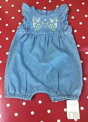 BNWT Mothercare Denim Effect Baby Girls Romper Suit/Playsuit, Age 1-3 Months