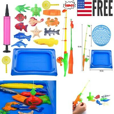 18pcs Bath Toys For Kids Fishing Magnetic Toys Floating Fishing Game