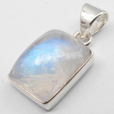 Rectangle Cabochon Rainbow Moonstone Necklace Pendant 925 Sterling Silver