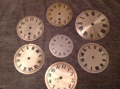 Antique Clock Dials Faces Silvered Engraved 90-123mm Ex Clockmakers Spare Parts