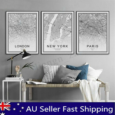 World City Map Abstract Poster Nordic Art Prints Canvas Paint Home Wall Decor AU