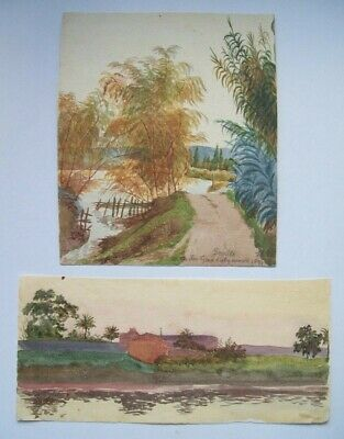 SEVILLE GUADALQUIVIR - TWO 19th CENTURY WATERCOLORS by FRANCES ANNIE EASTWOOD