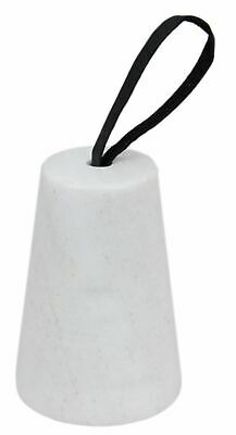 Heart Of The Home Natural Marble Doorstop With Leatherette Handle ~ White