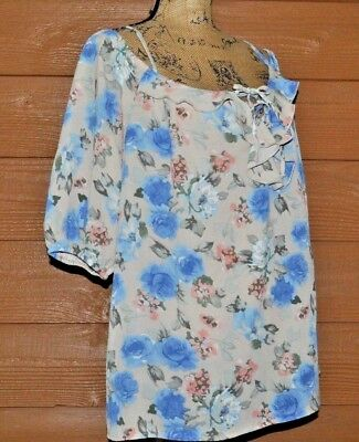 d3cd8738a5fa7 Zenobia Sz XXXL 3XL 3X RUFFLE COLD SHOULDER TOP BLOUSE Blue Pink Floral NWT
