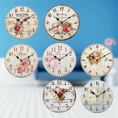 30cm Large Vintage Rustic Wooden Wall Clock Retro Home Kitchen Antique Shabby