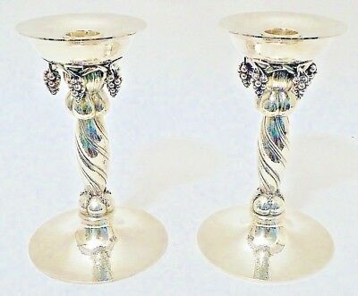 "A pair of sterling ""grape"" candlesticks, Pattern 263B by Georg Jensen, Denmark"