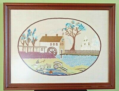 "VINTAGE 60's 70's Old Grist Mill Complete Framed Crewel Embroidered 26"" x 20"""
