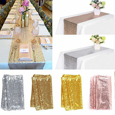 Glitter Sequin Table Runners Cloth Rose Gold/Silver Sparkly Wedding Party Decor