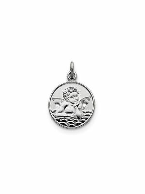 Solid Antiqued Raphael Angel Charm Pendant 20mmx15mm Sterling Silver