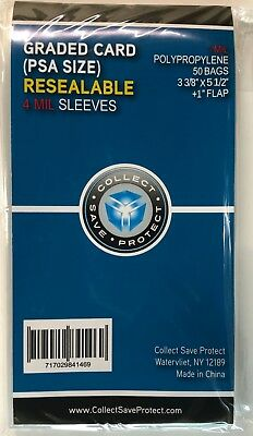 """(150) 4 MIL CSP Resealable Graded Card Slab Poly Sleeves bags 3 3/8 X 5 1/2"""" PSA"""