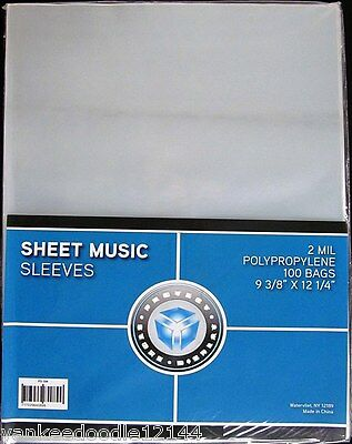 "(100) Psd Sheet Music Size Sleeves / Covers - No Flap 9 3/8"" X 12 1/4"""