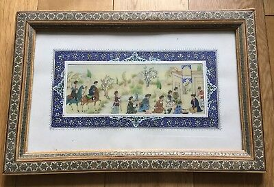 Old Vintage Persian Indian Islamic Painting Of Figures On Plate Framed