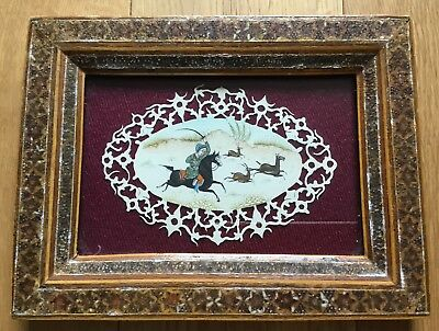 Old Vintage Miniature Hunting Scene Persian Mughal Painting Cut Out Plate Framed