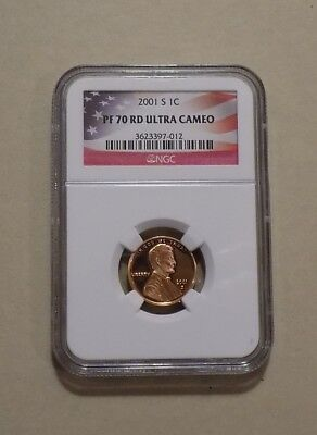 2001 S 1c LINCOLN MEMORIAL CENT PENNY NGC PF70 RD ULTRA CAMEO FLAG LABEL