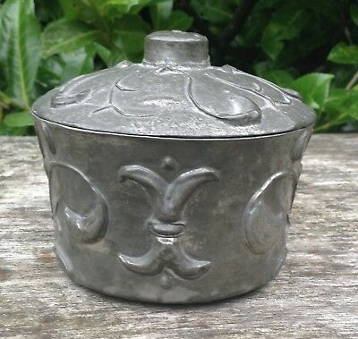 Superb Vintage Antique Art Nouveau Pewter Covered Pink Plastic Bakelite Box