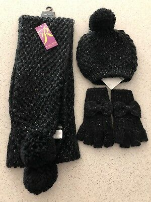 $96 NWT Rampage Women's Black Metallic Scarf, Beanie & Fingerless Gloves Set OS