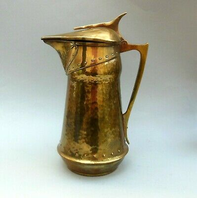 "Large Antique Arts & Crafts Lidded Brass Jug ~ 13"" ~ Hammered & Riveted Pitcher"