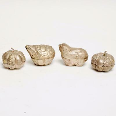 Group Of (4) Cambodian Silver Metal Betel Nut Boxes Figural Animals/Pumpkins