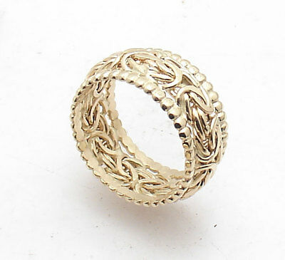 Size 8 Dot Link Bordered Domed Byzantine Ring Real 14K Yellow Gold