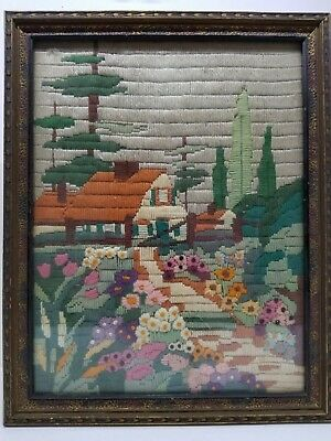 Vintage Arts & Crafts Embroidered Needlework Scenery Picture Antique Frame