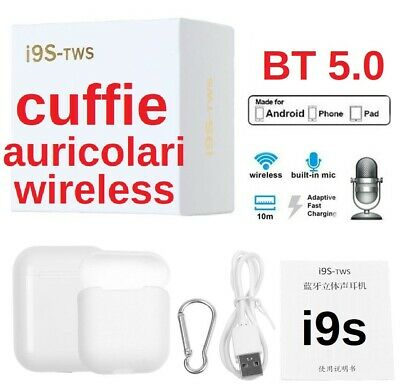 AURICOLARE WIRELESS CUFFIE BLUETOOTH i9s TWS AIRPODS IOS ANDROID BLUETOOTH 5.0