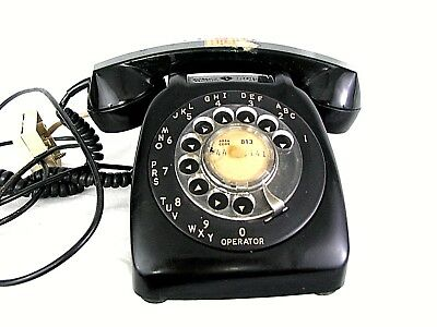 Vintage Desk Phone Rotary Automatic Electric Black United Telephone System