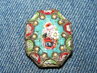 Vintage Ornate Pendant Brass With Multi-Colored Glass Stones Italy